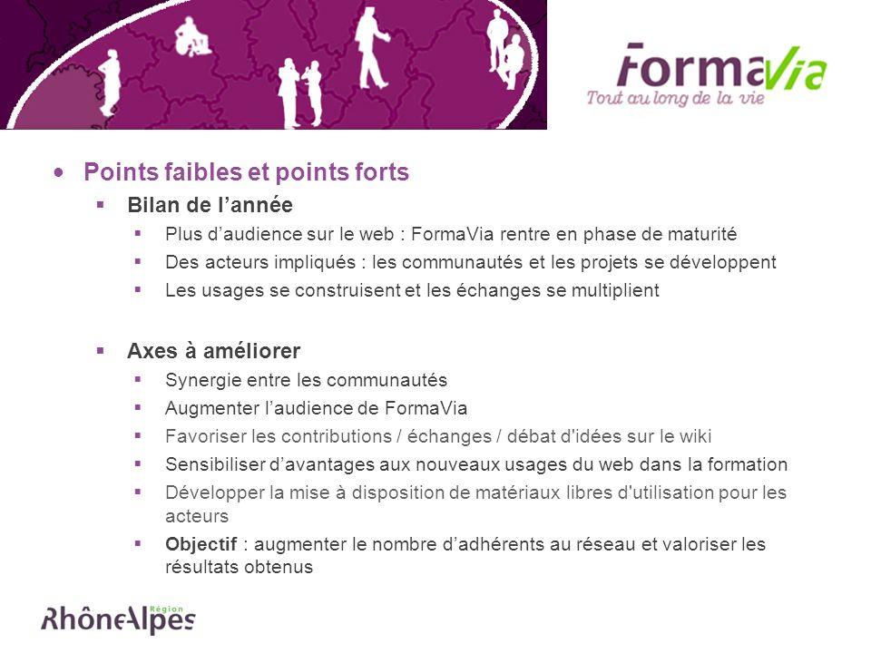 Points faibles et points forts Bilan de lannée Plus daudience sur le web : FormaVia rentre en phase de maturité Des acteurs impliqués : les communauté