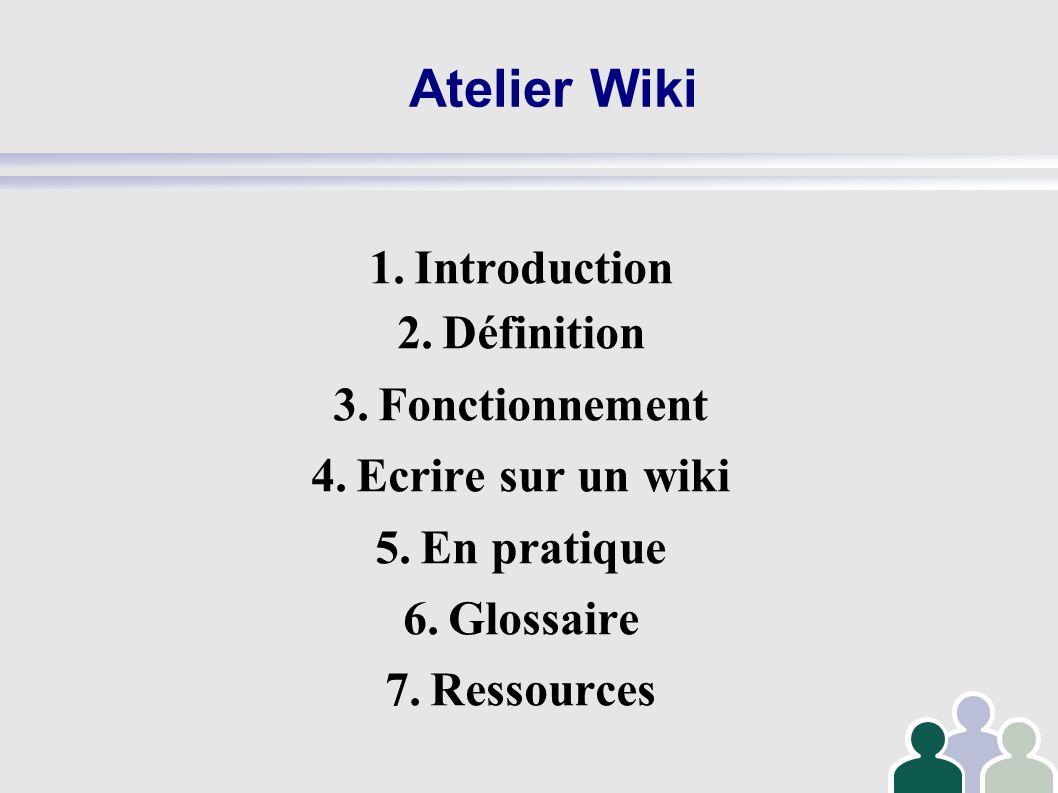 Atelier Wiki 1.Introduction 2.Définition 3.Fonctionnement 4.Ecrire sur un wiki 5.En pratique 6.Glossaire 7.Ressources