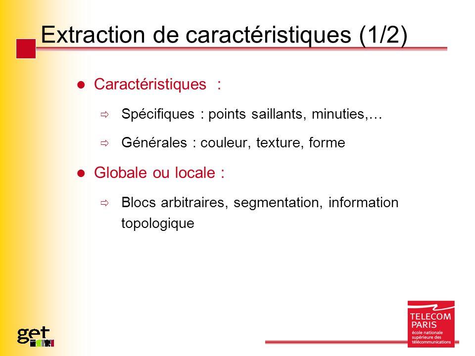 Extraction de caractéristiques (1/2) Caractéristiques : Spécifiques : points saillants, minuties,… Générales : couleur, texture, forme Globale ou loca