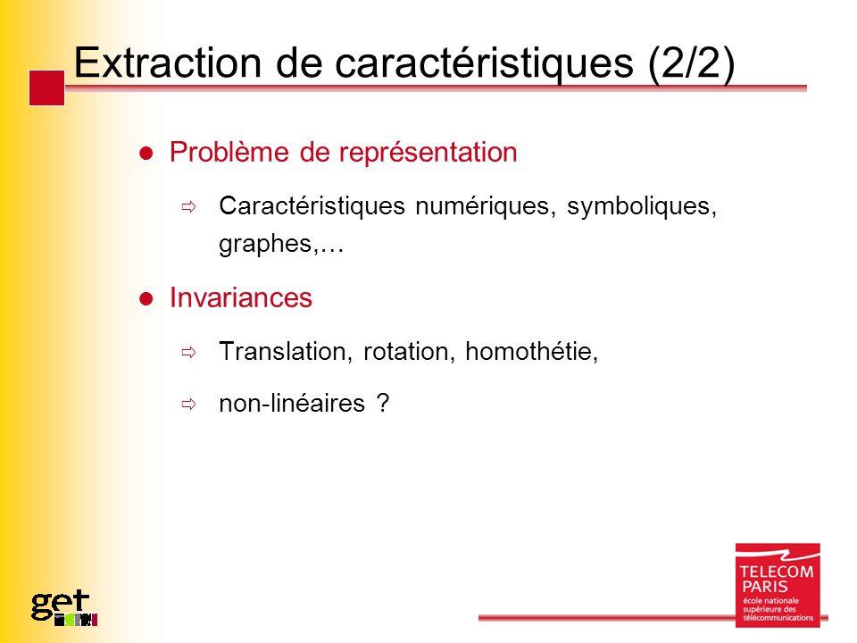 Extraction de caractéristiques (2/2) Problème de représentation Caractéristiques numériques, symboliques, graphes,… Invariances Translation, rotation,