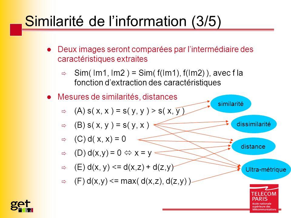 Similarité de linformation (3/5) Deux images seront comparées par lintermédiaire des caractéristiques extraites Sim( Im1, Im2 ) = Sim( f(Im1), f(Im2)