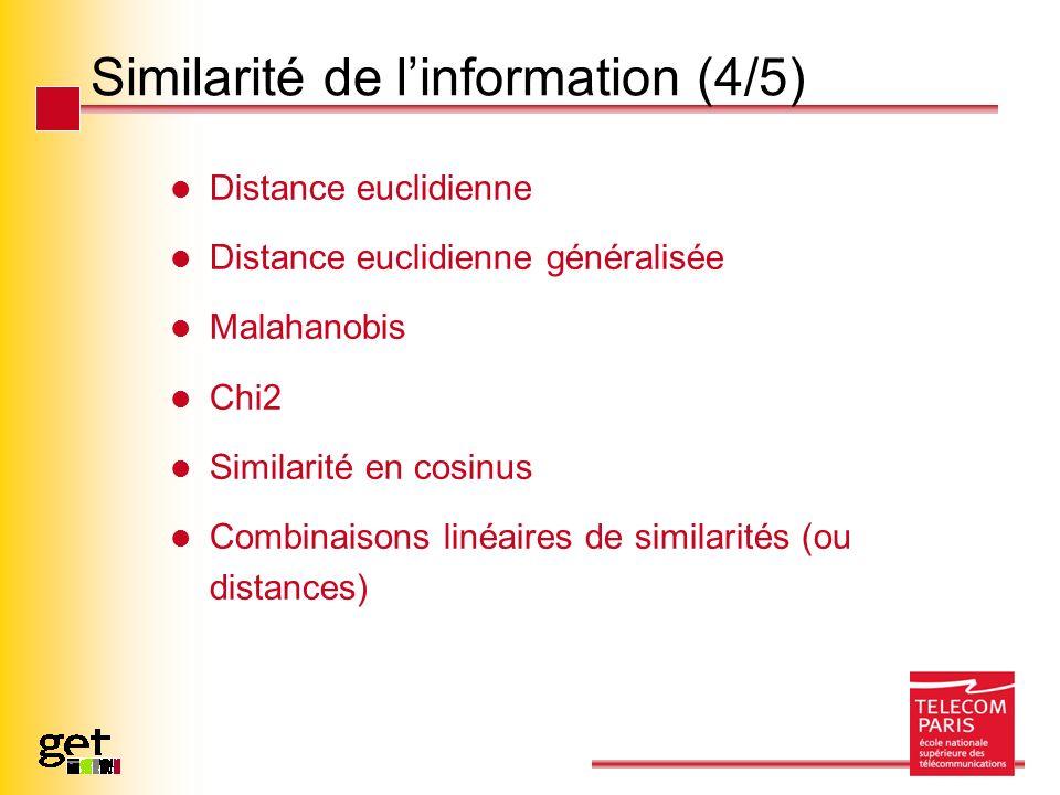 Similarité de linformation (4/5) Distance euclidienne Distance euclidienne généralisée Malahanobis Chi2 Similarité en cosinus Combinaisons linéaires d