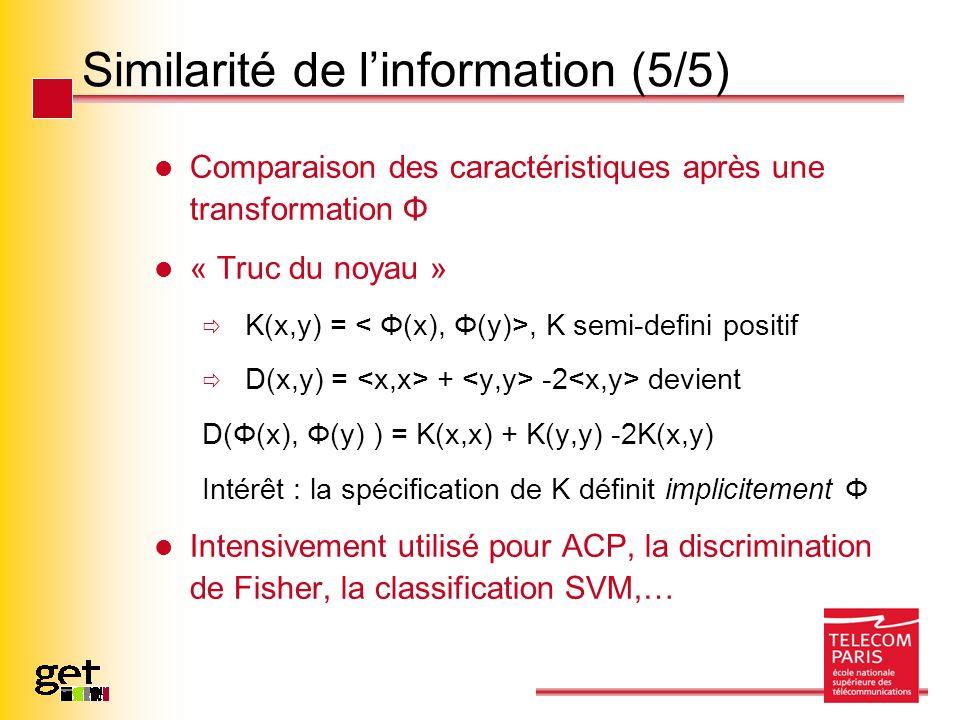 Similarité de linformation (5/5) Comparaison des caractéristiques après une transformation Φ « Truc du noyau » K(x,y) =, K semi-defini positif D(x,y)