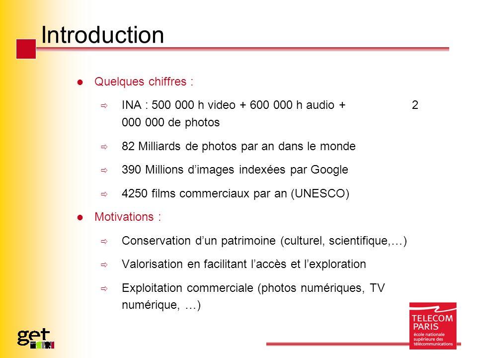 Introduction Quelques chiffres : INA : 500 000 h video + 600 000 h audio + 2 000 000 de photos 82 Milliards de photos par an dans le monde 390 Million