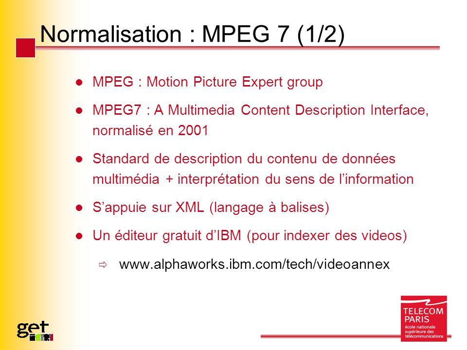 Normalisation : MPEG 7 (1/2) MPEG : Motion Picture Expert group MPEG7 : A Multimedia Content Description Interface, normalisé en 2001 Standard de desc