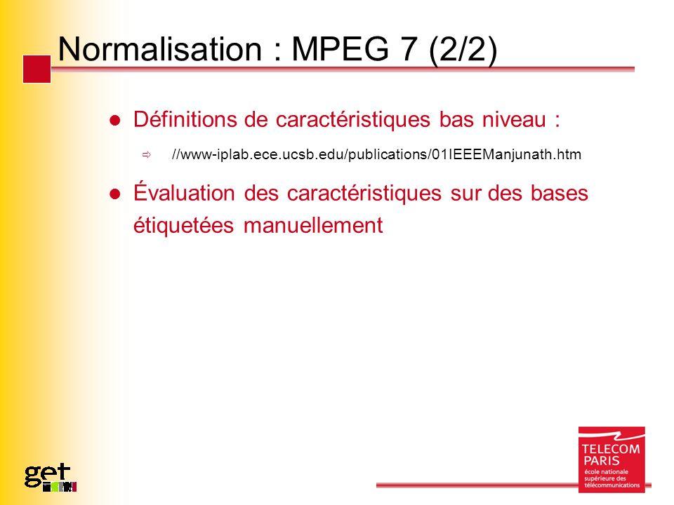 Normalisation : MPEG 7 (2/2) Définitions de caractéristiques bas niveau : //www-iplab.ece.ucsb.edu/publications/01IEEEManjunath.htm Évaluation des car