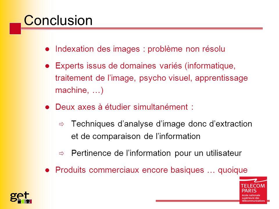 Conclusion Indexation des images : problème non résolu Experts issus de domaines variés (informatique, traitement de limage, psycho visuel, apprentiss