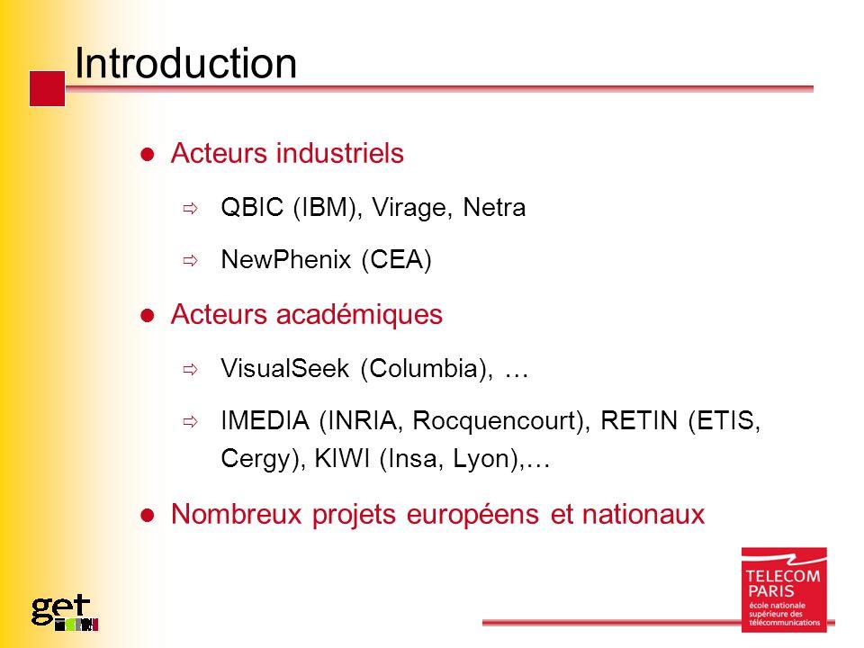Introduction Acteurs industriels QBIC (IBM), Virage, Netra NewPhenix (CEA) Acteurs académiques VisualSeek (Columbia), … IMEDIA (INRIA, Rocquencourt),