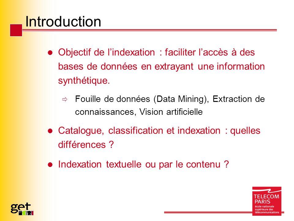 Introduction Objectif de lindexation : faciliter laccès à des bases de données en extrayant une information synthétique. Fouille de données (Data Mini
