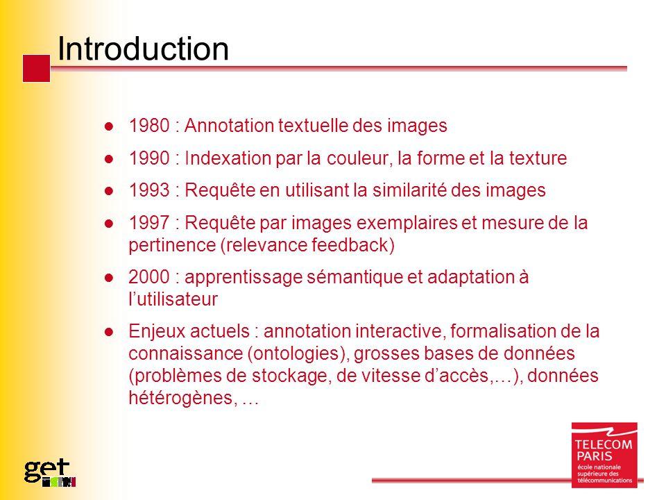 Introduction 1980 : Annotation textuelle des images 1990 : Indexation par la couleur, la forme et la texture 1993 : Requête en utilisant la similarité