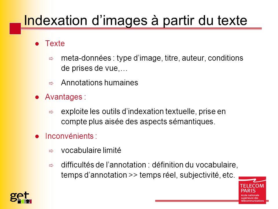 Indexation dimages à partir du texte Texte meta-données : type dimage, titre, auteur, conditions de prises de vue,… Annotations humaines Avantages : e