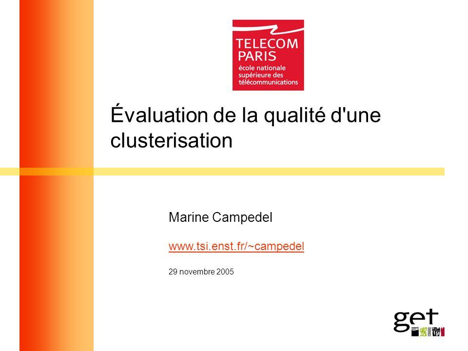 Évaluation de la qualité d'une clusterisation Marine Campedel www.tsi.enst.fr/~campedel 29 novembre 2005