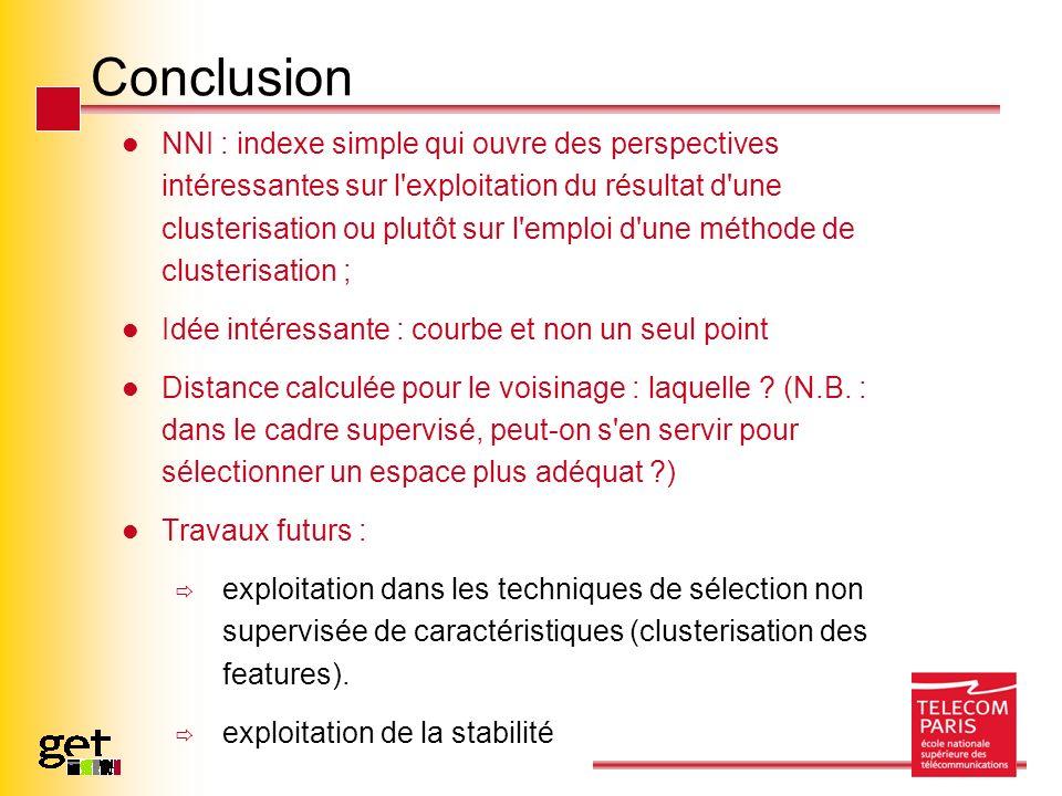 Conclusion NNI : indexe simple qui ouvre des perspectives intéressantes sur l'exploitation du résultat d'une clusterisation ou plutôt sur l'emploi d'u