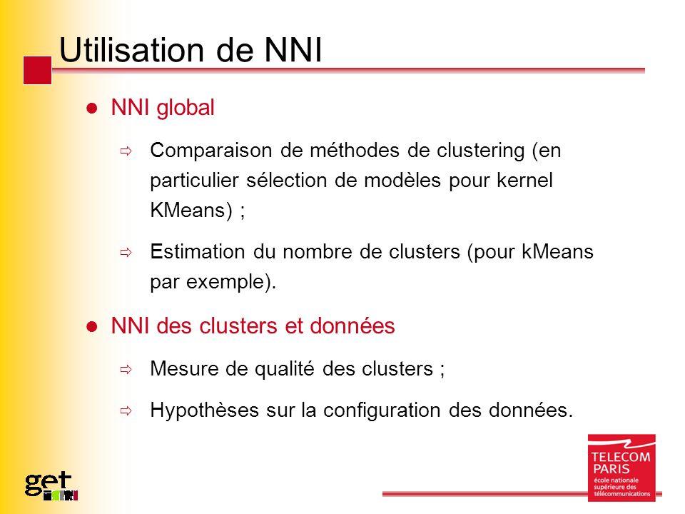 Utilisation de NNI NNI global Comparaison de méthodes de clustering (en particulier sélection de modèles pour kernel KMeans) ; Estimation du nombre de