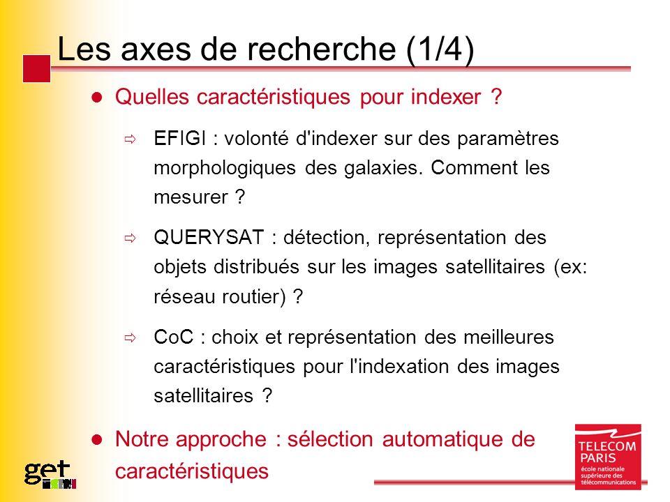 Les axes de recherche (2/4) Sélection : concaténation de toutes les caractéristiques possiblement extraites (cf littérature) puis application d algorithmes (supervisés ou non) de sélection automatique.