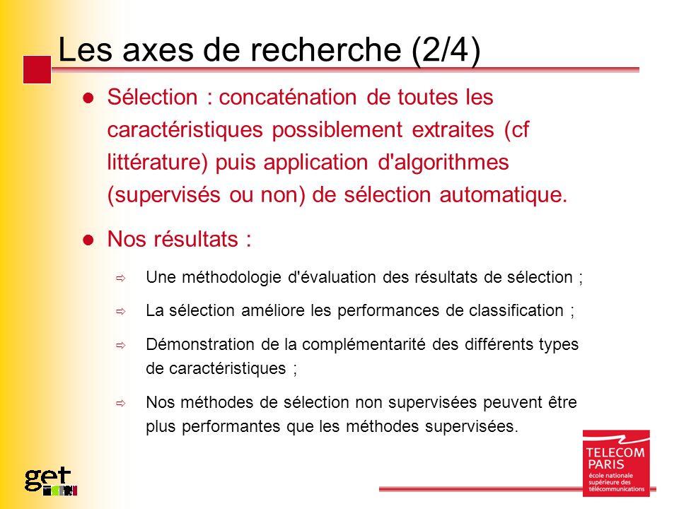 Les axes de recherche (2/4) Sélection : concaténation de toutes les caractéristiques possiblement extraites (cf littérature) puis application d'algori