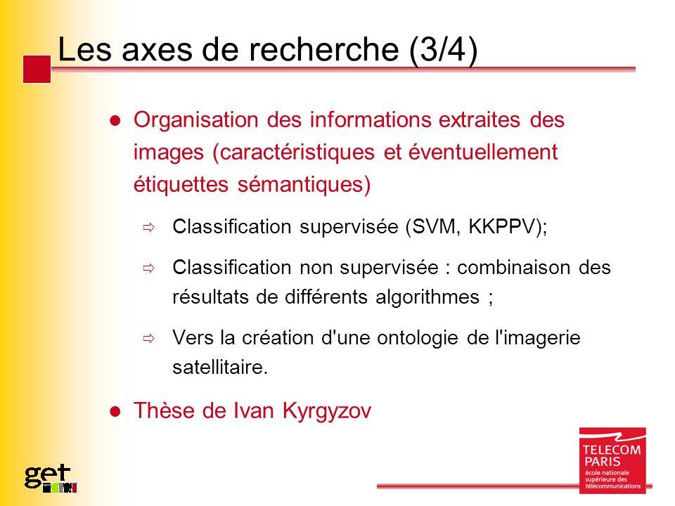 Les axes de recherche (3/4) Organisation des informations extraites des images (caractéristiques et éventuellement étiquettes sémantiques) Classificat