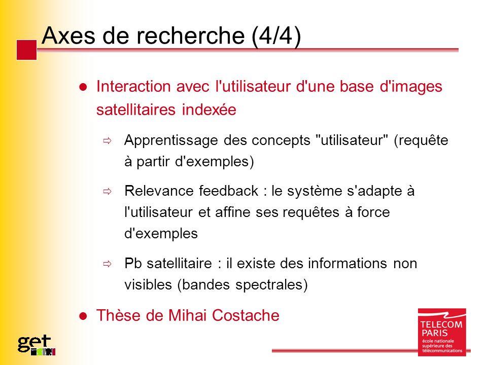 Axes de recherche (4/4) Interaction avec l'utilisateur d'une base d'images satellitaires indexée Apprentissage des concepts