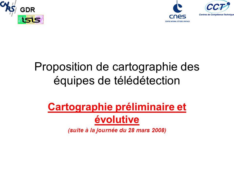 GDR Listes des laboratoires Industriels –TAS : Thalès Alenia Space –CS : Communications & Systems Académiques –CESBIO : Centre dEtudes Spatiales de la BIOsphère –COC LTCI/DLR –EGID –GIPSA - Lab –IETR/GIT : Institut dElectronique et de Télécommunication de Rennes- groupe Image et Télédétection –IETR/SAPHIR : SAR polarimétrie, Holographie, Interferométrie et radargrammétrie) –INRIA (groupe ARIANA) –ITI (TELECOM Bretagne) –L2G ESGT : Laboratoire de Géodésie et Géomatique –L2S SupElec –LATT : Laboratoire dAstrophysique de Toulouse Tarbes –LISTIC : Lab.
