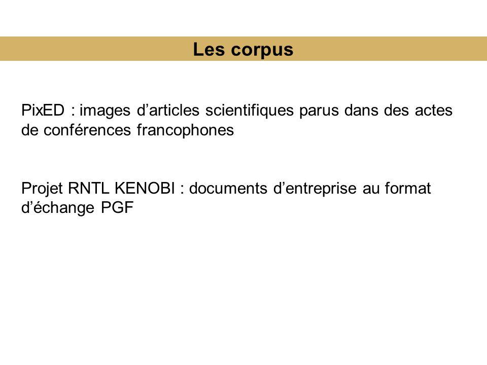 Les corpus PixED : images darticles scientifiques parus dans des actes de conférences francophones Projet RNTL KENOBI : documents dentreprise au format déchange PGF