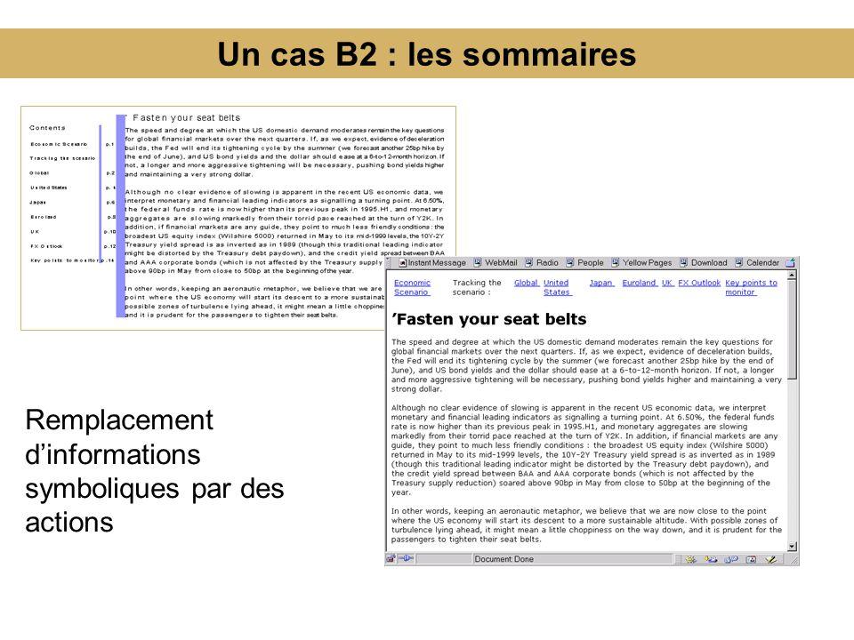 Un cas B2 : les sommaires Remplacement dinformations symboliques par des actions