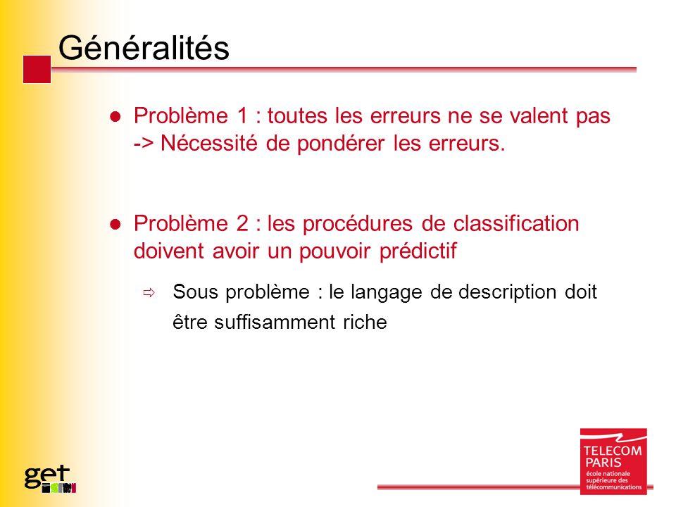 Généralités Problème 1 : toutes les erreurs ne se valent pas -> Nécessité de pondérer les erreurs. Problème 2 : les procédures de classification doive