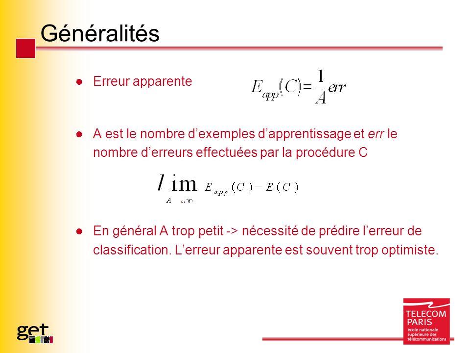 Généralités Erreur apparente A est le nombre dexemples dapprentissage et err le nombre derreurs effectuées par la procédure C En général A trop petit -> nécessité de prédire lerreur de classification.