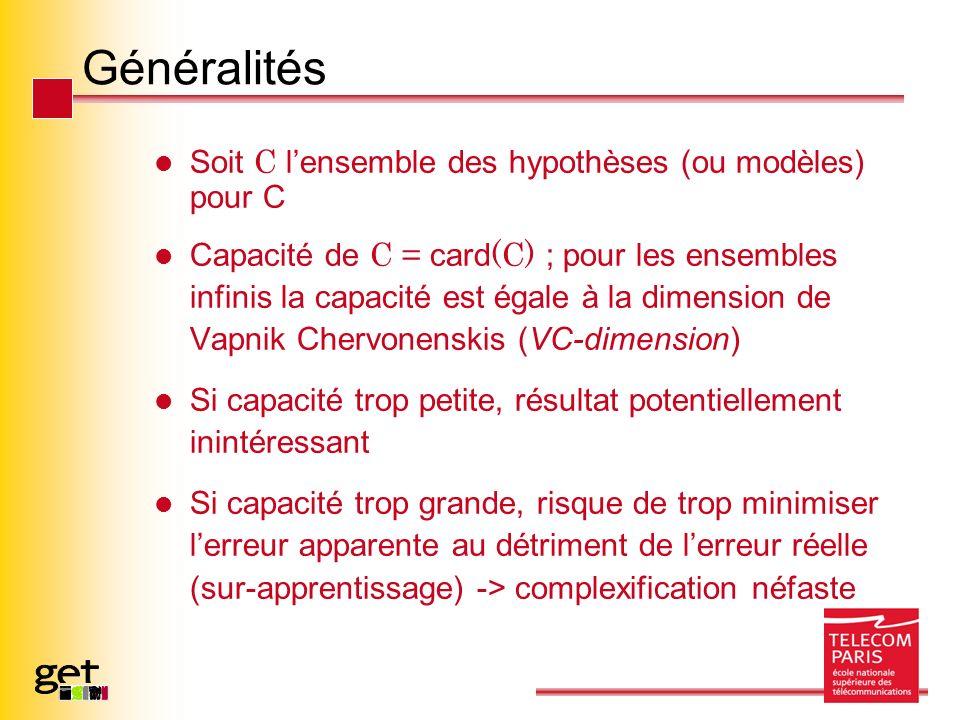 Généralités Soit C lensemble des hypothèses (ou modèles) pour C Capacité de C = card (C) ; pour les ensembles infinis la capacité est égale à la dimen