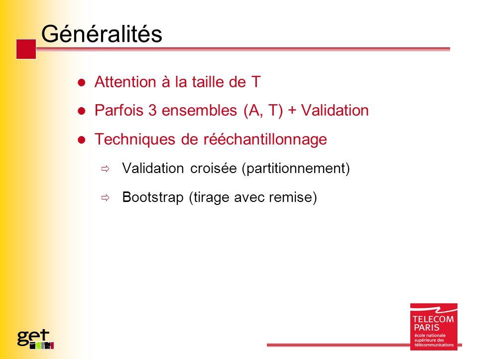 Généralités Attention à la taille de T Parfois 3 ensembles (A, T) + Validation Techniques de rééchantillonnage Validation croisée (partitionnement) Bootstrap (tirage avec remise)
