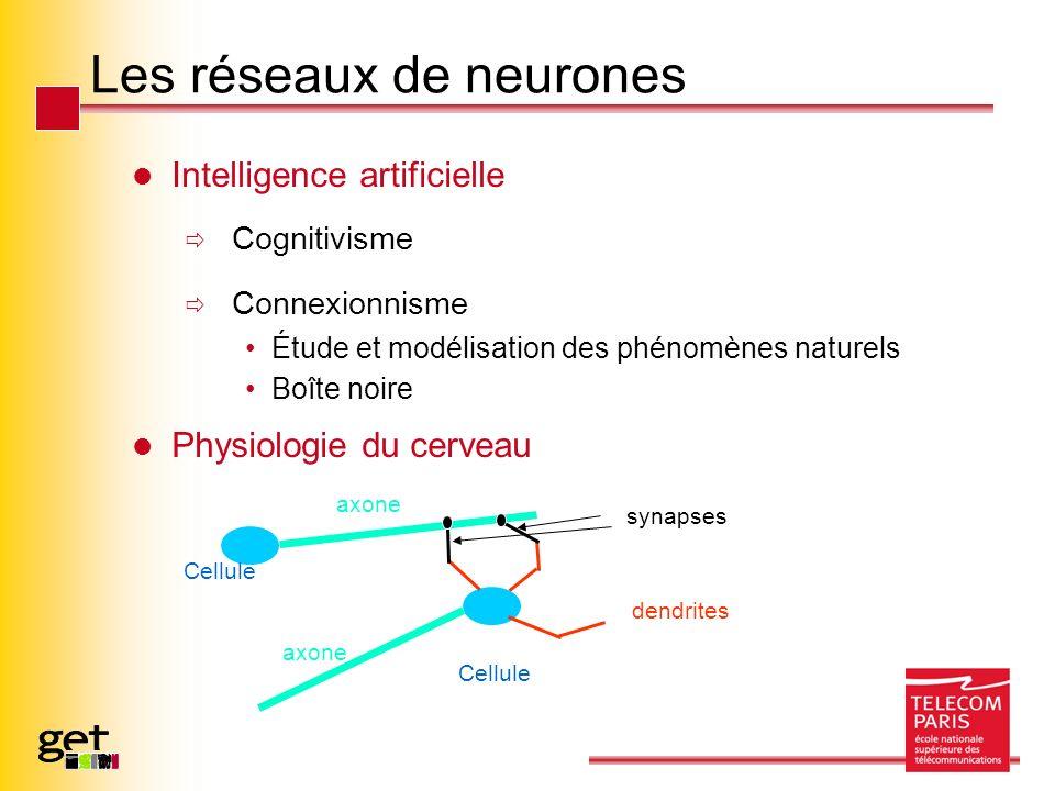 Les réseaux de neurones Intelligence artificielle Cognitivisme Connexionnisme Étude et modélisation des phénomènes naturels Boîte noire Physiologie du cerveau Cellule axone dendrites synapses