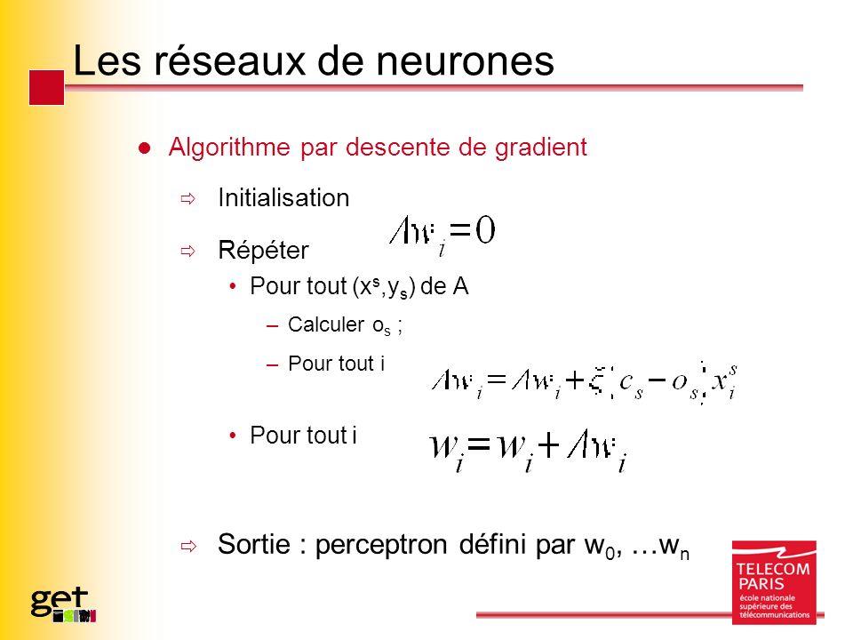 Les réseaux de neurones Algorithme par descente de gradient Initialisation Répéter Pour tout (x s,y s ) de A –Calculer o s ; –Pour tout i Pour tout i Sortie : perceptron défini par w 0, …w n