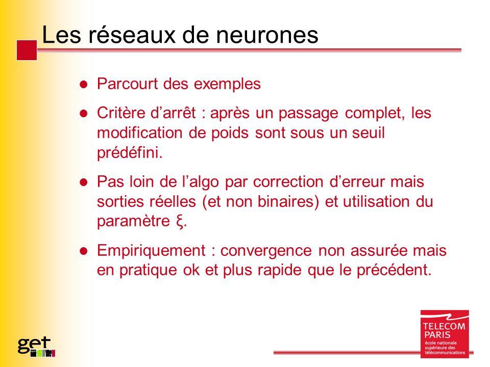 Les réseaux de neurones Parcourt des exemples Critère darrêt : après un passage complet, les modification de poids sont sous un seuil prédéfini. Pas l