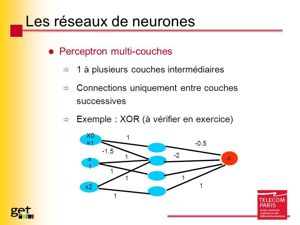 Les réseaux de neurones Perceptron multi-couches 1 à plusieurs couches intermédiaires Connections uniquement entre couches successives Exemple : XOR (à vérifier en exercice) x1x1 x2 o -0.5 X0 =1 1 -1.5 1 1 1 1 -2 1 1