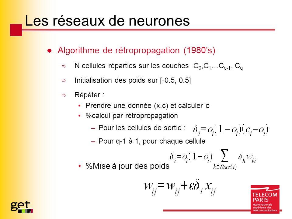 Les réseaux de neurones Algorithme de rétropropagation (1980s) N cellules réparties sur les couches C 0,C 1 …C q-1, C q Initialisation des poids sur [-0.5, 0.5] Répéter : Prendre une donnée (x,c) et calculer o %calcul par rétropropagation –Pour les cellules de sortie : –Pour q-1 à 1, pour chaque cellule %Mise à jour des poids