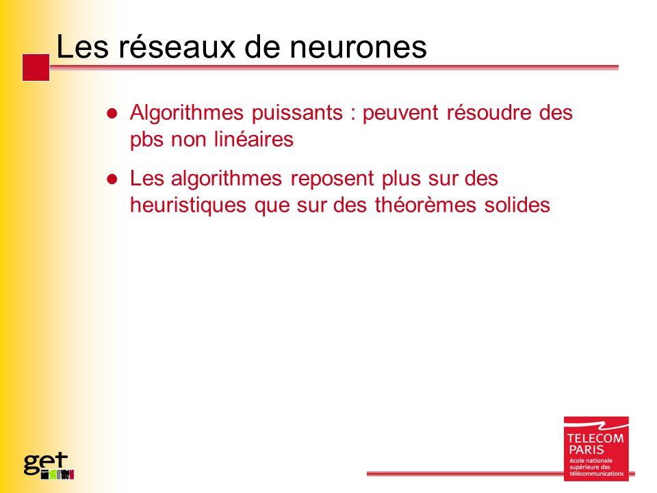 Les réseaux de neurones Algorithmes puissants : peuvent résoudre des pbs non linéaires Les algorithmes reposent plus sur des heuristiques que sur des théorèmes solides