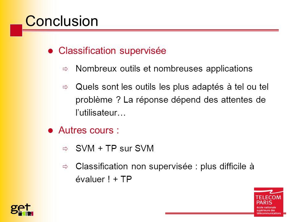 Conclusion Classification supervisée Nombreux outils et nombreuses applications Quels sont les outils les plus adaptés à tel ou tel problème ? La répo