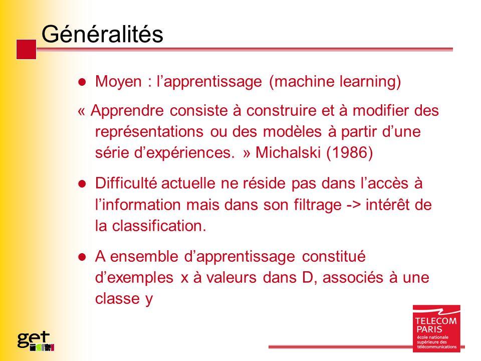 Généralités Moyen : lapprentissage (machine learning) « Apprendre consiste à construire et à modifier des représentations ou des modèles à partir dune série dexpériences.