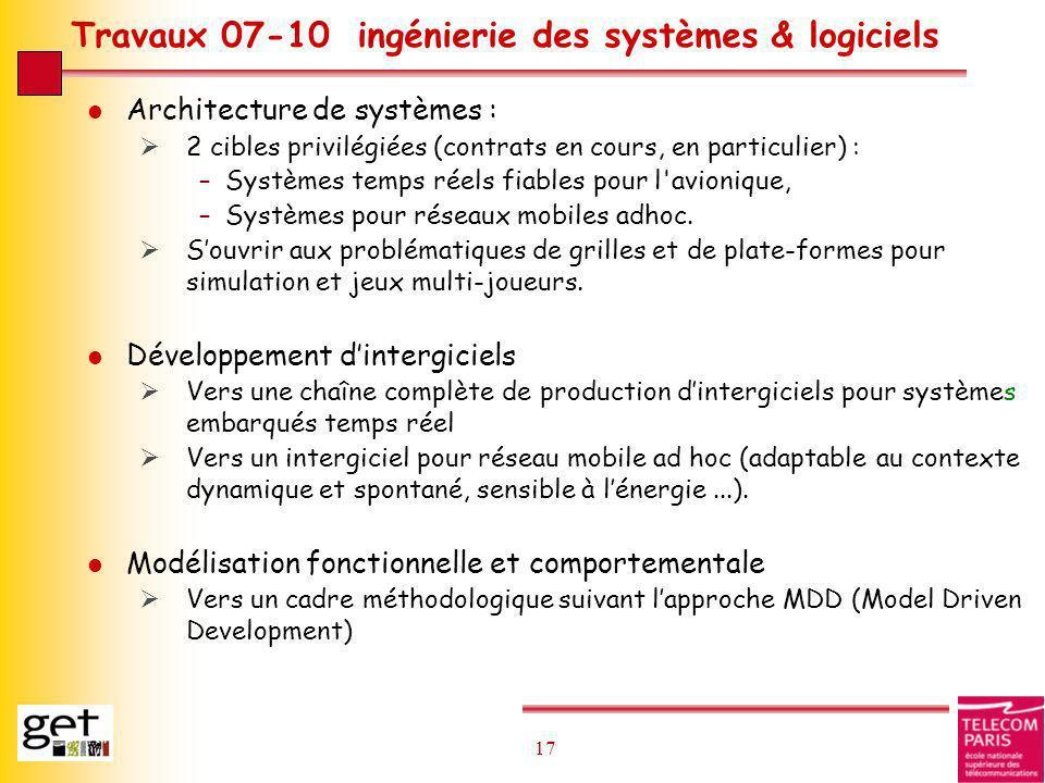 17 Travaux 07-10 ingénierie des systèmes & logiciels l Architecture de systèmes : 2 cibles privilégiées (contrats en cours, en particulier) : –Système