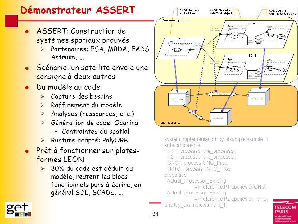 24 Démonstrateur ASSERT l ASSERT: Construction de systèmes spatiaux prouvés Partenaires: ESA, MBDA, EADS Astrium, … l Scénario: un satellite envoie un