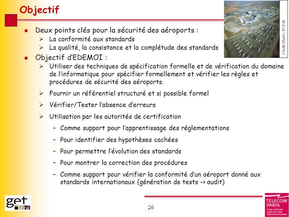 26 Objectif l Deux points clés pour la sécurité des aéroports : La conformité aux standards La qualité, la consistance et la complétude des standards