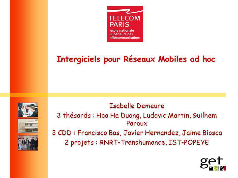 Intergiciels pour Réseaux Mobiles ad hoc Isabelle Demeure 3 thésards : Hoa Ha Duong, Ludovic Martin, Guilhem Paroux 3 CDD : Francisco Bas, Javier Hern