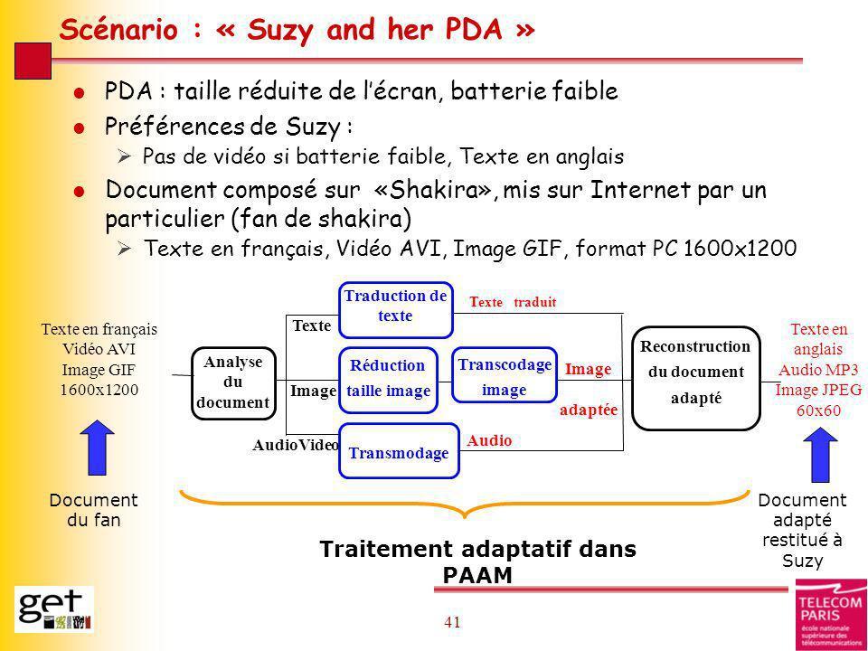 41 Scénario : « Suzy and her PDA » l PDA : taille réduite de lécran, batterie faible l Préférences de Suzy : Pas de vidéo si batterie faible, Texte en