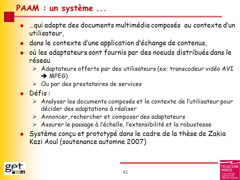 42 PAAM : un système... l …qui adapte des documents multimédia composés au contexte dun utilisateur, l dans le contexte dune application déchange de c