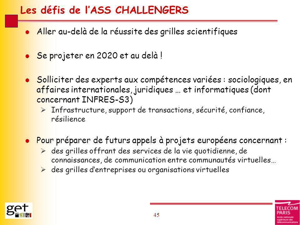 45 Les défis de lASS CHALLENGERS l Aller au-delà de la réussite des grilles scientifiques l Se projeter en 2020 et au delà ! l Solliciter des experts