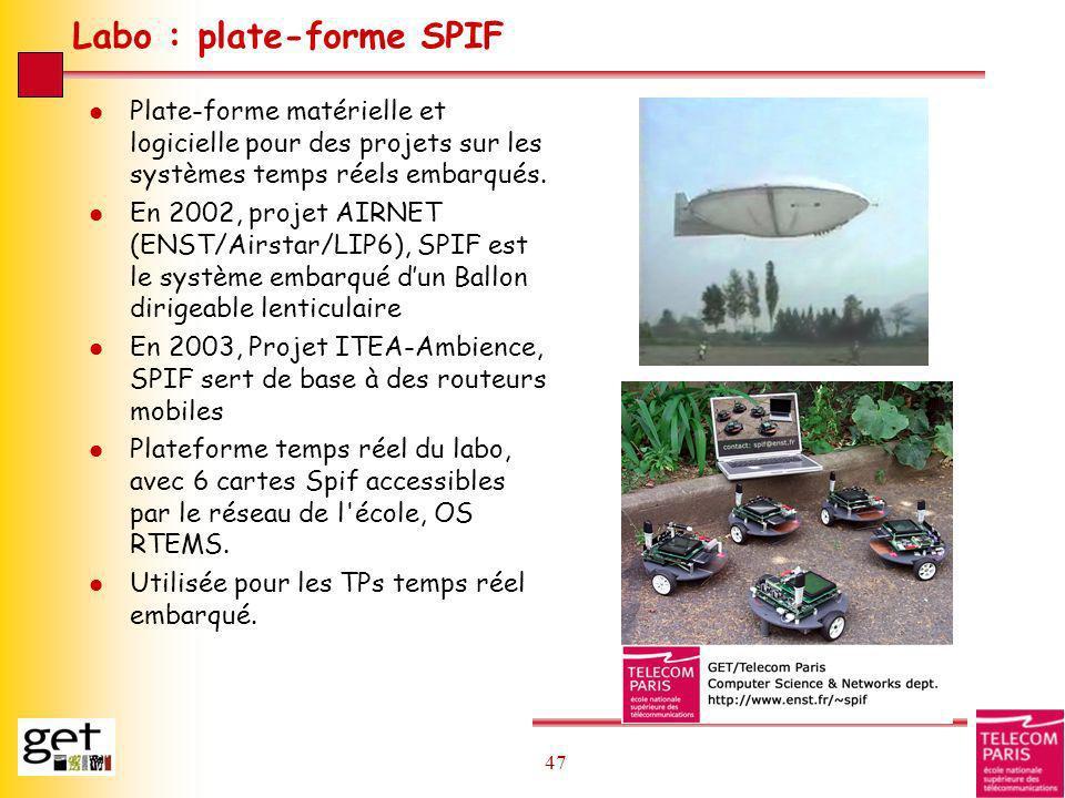 47 Labo : plate-forme SPIF l Plate-forme matérielle et logicielle pour des projets sur les systèmes temps réels embarqués. l En 2002, projet AIRNET (E