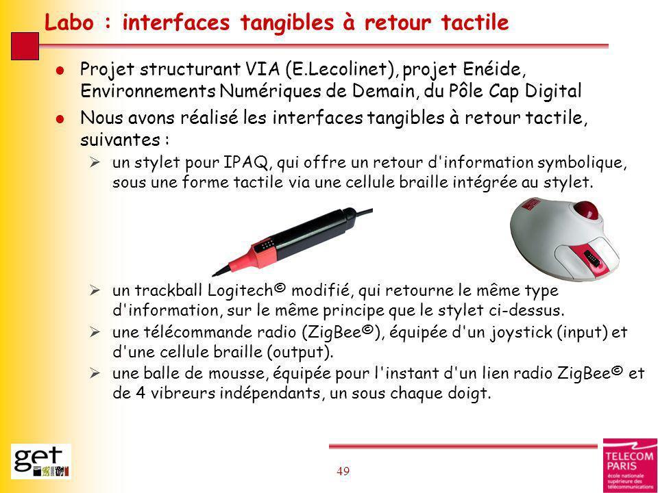 49 Labo : interfaces tangibles à retour tactile l Projet structurant VIA (E.Lecolinet), projet Enéide, Environnements Numériques de Demain, du Pôle Ca