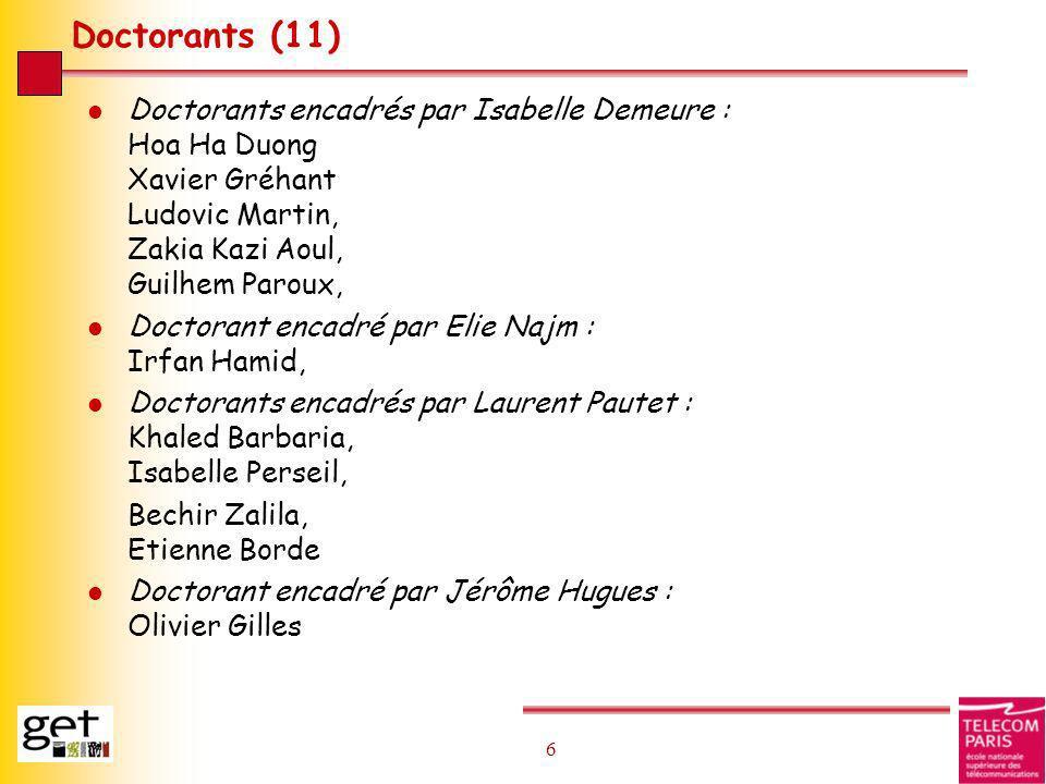 6 6 Doctorants (11) l Doctorants encadrés par Isabelle Demeure : Hoa Ha Duong Xavier Gréhant Ludovic Martin, Zakia Kazi Aoul, Guilhem Paroux, l Doctor