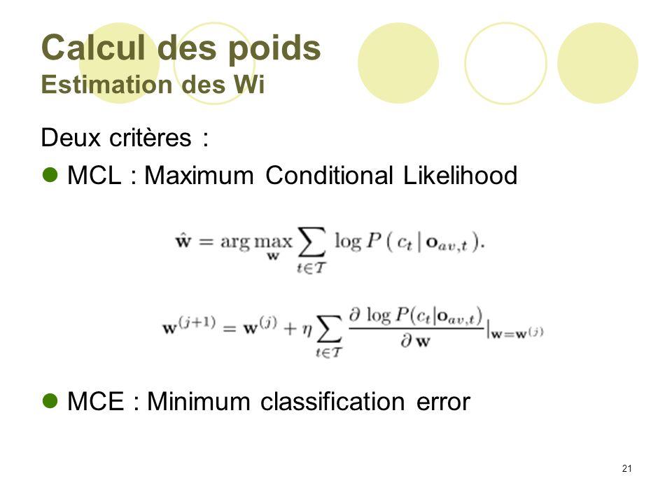 21 Calcul des poids Estimation des Wi Deux critères : MCL : Maximum Conditional Likelihood MCE : Minimum classification error