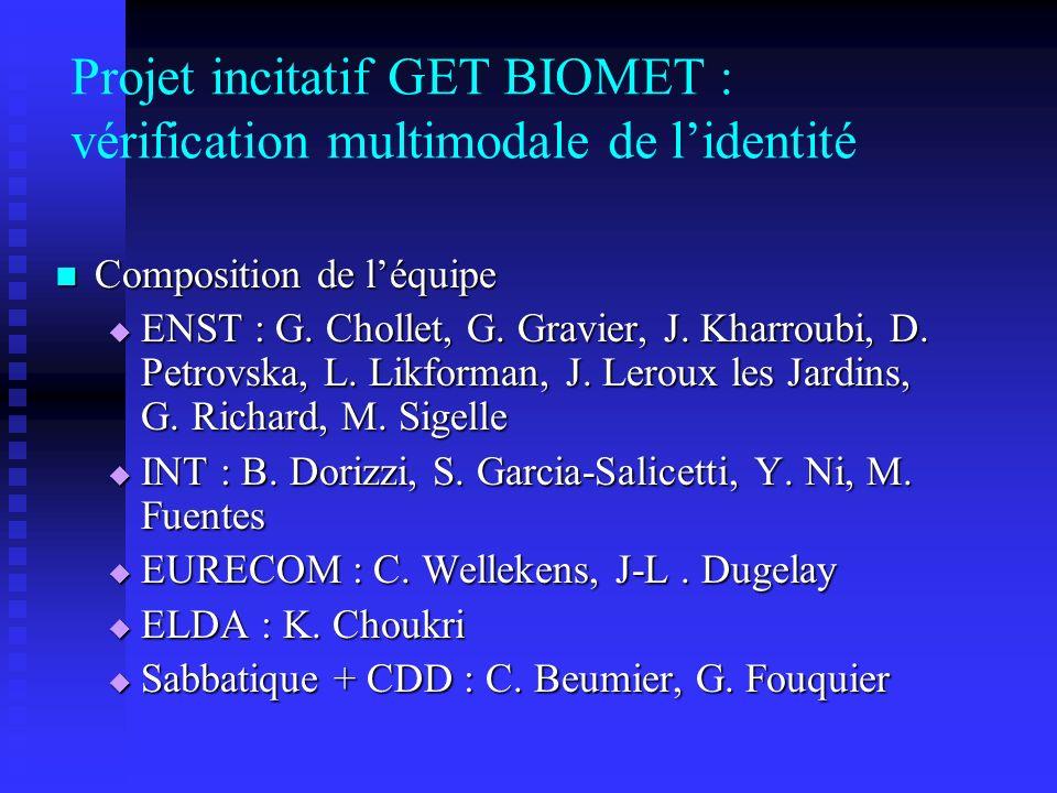 Projet incitatif GET BIOMET : vérification multimodale de lidentité Composition de léquipe Composition de léquipe ENST : G. Chollet, G. Gravier, J. Kh