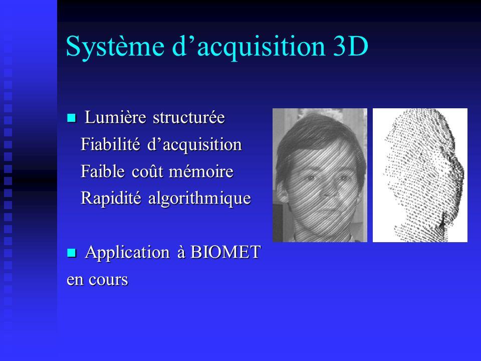Système dacquisition 3D Lumière structurée Lumière structurée Fiabilité dacquisition Fiabilité dacquisition Faible coût mémoire Faible coût mémoire Ra